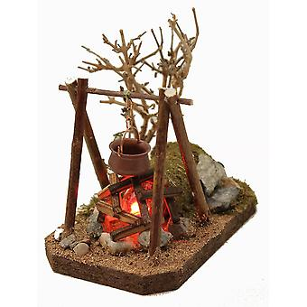 Cooking place flicker light campfire with boiler and bush 230 V crib accessories nativity barn