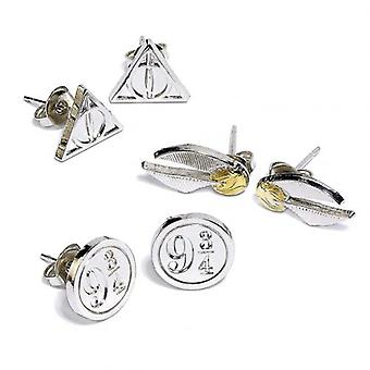 Harry Potter Silber vergoldet Ohrring Set