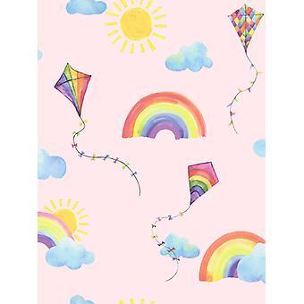 Over the Rainbow Flying Kites Wallpaper Pink / Multi Holden 91021