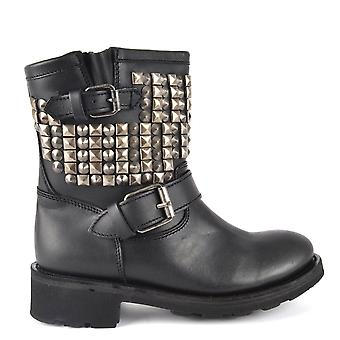Ash TENNESSE Nickel Studded Black Leather Ankle Boots