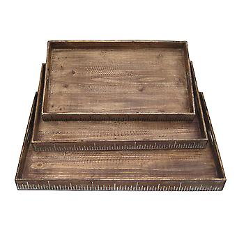 "19"" x 12"" Brown Wood  Tray Set"