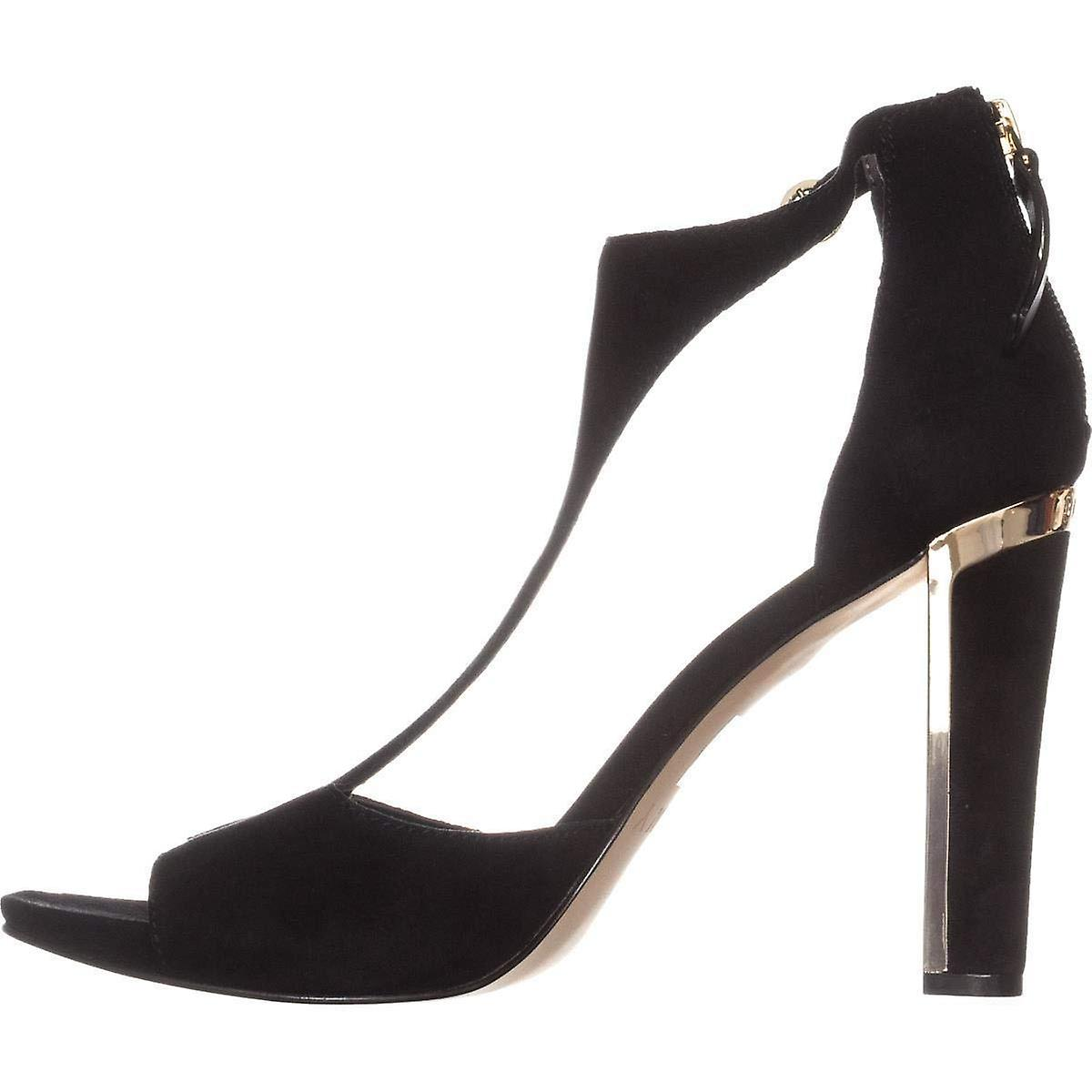 DKNY Colby T-Strap Dress Sandals, Black Suede
