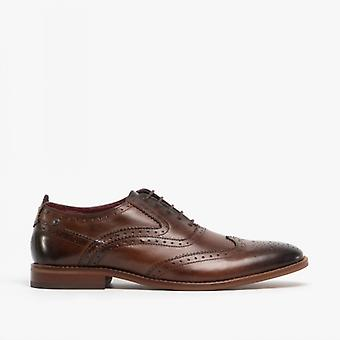 Base London Focus Mens Leather Brogue Shoes Washed Brown