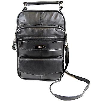 Mens / dames Super Soft Nappa Leather Shoulder / Carry voyage / vol sac avec poches multiples