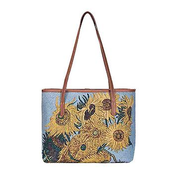 Van gogh - sunflowers shoulder tote bag by signare tapestry / coll-art-vg-sunf