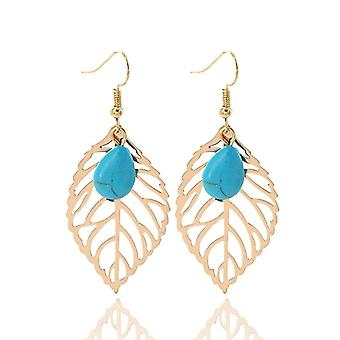 22k gold plated leaf earrings - turquoise beaded