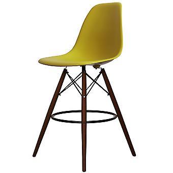 Charles Eames stijl mosterd gele kunststof Bar kruk-Walnut benen