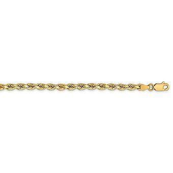14kゴールド3.75mmスパークルカットロープチェーンブレスレットジュエリー女性のためのギフト - 長さ:7〜8
