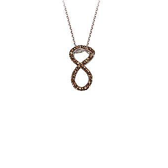 925 Sterling Silver Rhodium Plated Crystal Infinity Necklace Lite Brown Adjustable 18 Inch Jewelry Gifts for Women