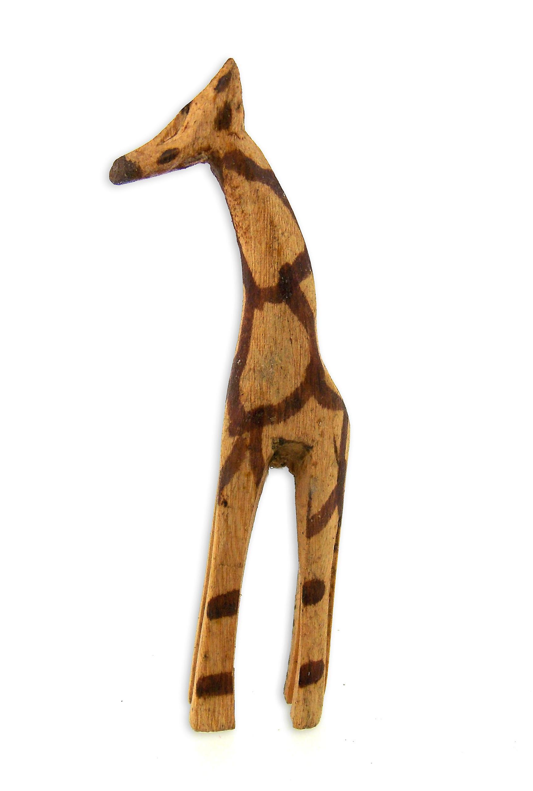 Vintage Wooden Giraffe Figurine Family - 5 Piece Set