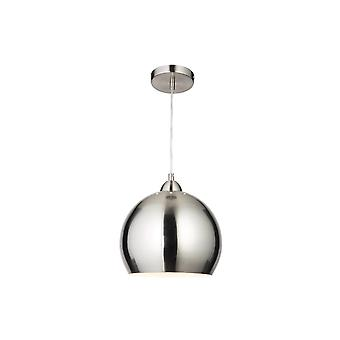 THLC Modern Globe Cafe Pendant Light In Satin Chrome