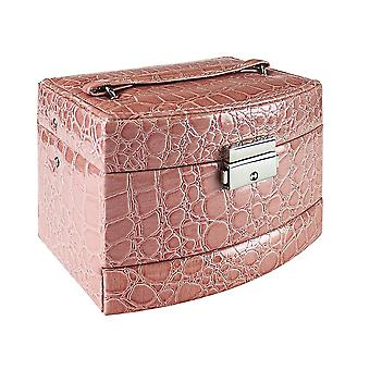 Crocodile patterned Jewelry box with 5 compartments - Pink