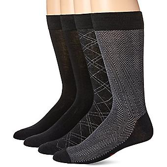 Dockers Men's 4 Pack Herringbone Dress, Black, Shoe Size: 6-12, Black, Size 6.0