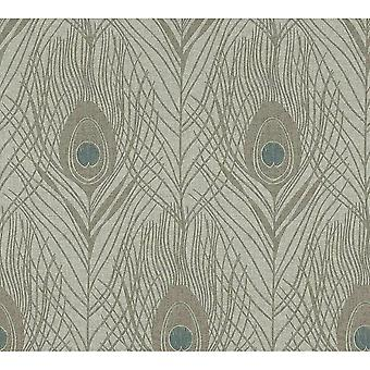 A.S. Creation A.S Creation Luxury Peacock Bird Feather Design Wallpaper Grey Turquoise 36971-6