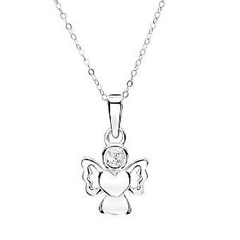 Jo For Girls Sterling Silver Angel Pendant Simulated April Birthstone Necklace