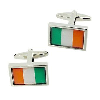 Jakob Strauss Gents Sivertone Irish Flag Ireland Oblong Metal Cufflinks