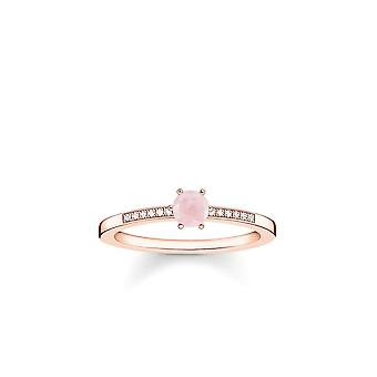 Thomas Sabo Sterling Silver Thomas Sabo Rose Gold Ring With Diamond And Rose Quartz D_TR0010-925-9