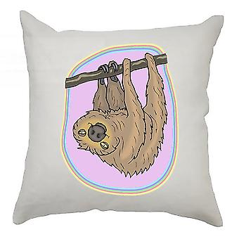 Sloth Cushion Cover 40cm x 40cm - Sloth With Pink Background