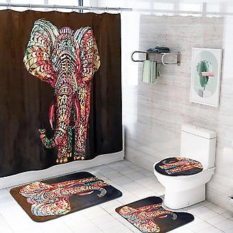 4 Piece Elephant Shower Curtain Set