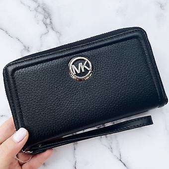 Michael kors jet set fulton large phone wristlet wallet black pebbled