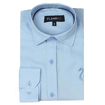 Camicia in cotone blu cielo ragazzi