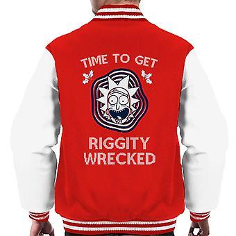 Giacca Varsity di Rick e Morty Time per ottenere Riggity Wrecked Men's Varsity Giacca