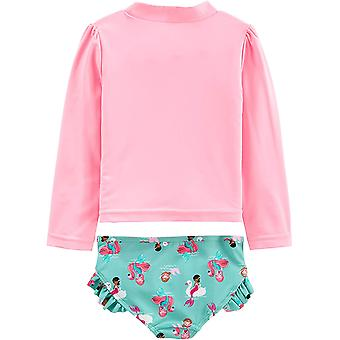 Simple Joys by Carter's Girls' 2-Piece Rashguard Set, Pink Mermaid, 12 Months