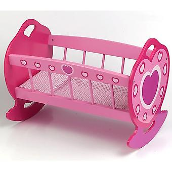 Dolls World Wooden Doll Rocking Cradle Toy