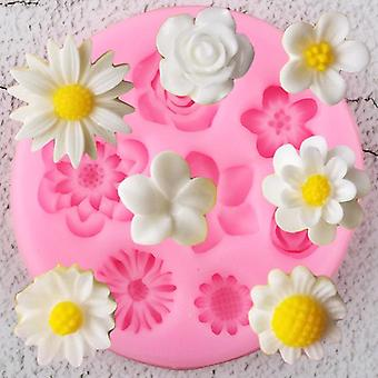Flower Silicone Mold - Plumeria, Rose, Daisy Chocolate Candy Diy Topper Fondant
