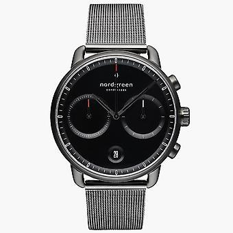 Nordgreen PI42GMMEGUBL Black Dial Gunmetal Mesh Strap Wristwatch