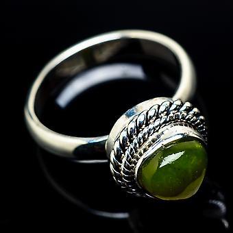 Nephrite Jade Ring Größe 5,25 (925 Sterling Silber) - handgemachte Boho Vintage Schmuck RING23708