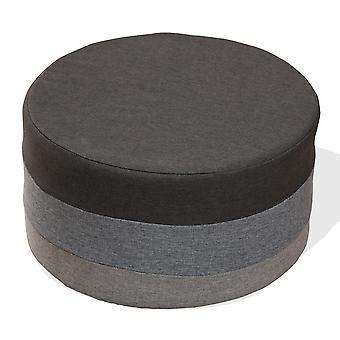 Rebecca Møbler Feet Puff runde plade Vintage grå stof 25x45x45