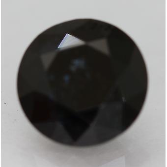 Cert 2.02 Ct Dark Blueish Black Round Brilliant Enhanced Natural Diamond 8.19mm