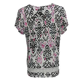 Carole Hochman Women's Regular Pajama Top Ikat Print Pink A373467