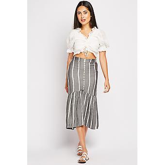 Striped Slit Front Skirt