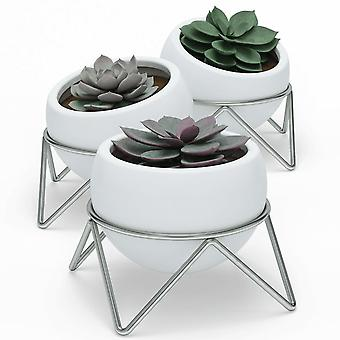 Umbra Potsy Planter Set Of 3 White Nickel