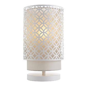 1 Light Table Light Chalk White & Pale Grey Cotton, E14