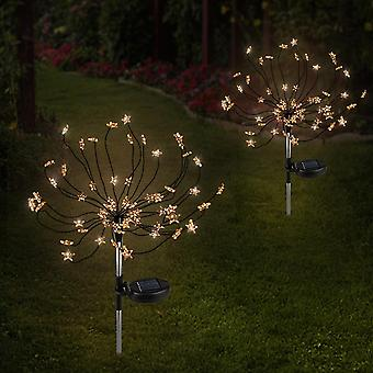 2pcs 90 Led Solar Powered Firework Lights  Ip44 Waterproof For Outdoor Landscape Path  Lawn  Decoration