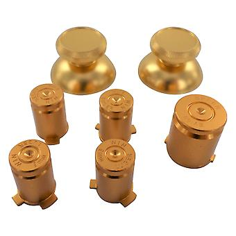Metal button set for xbox 360 controller thumbsticks d-pad a b x y guide replacement - gold | zedlabz