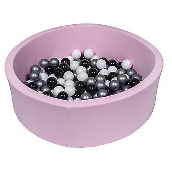 Groapă cu bile roz 90 cm cu 150 bile negru, alb și argintiu