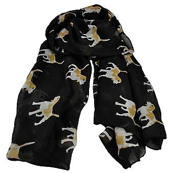 Ties Planet Dog Animal Print Black Lightweight Women's Châle Scarf