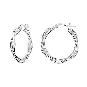 Dew sterling zilver twee draad twist hoepel oorbellen 66816HP028