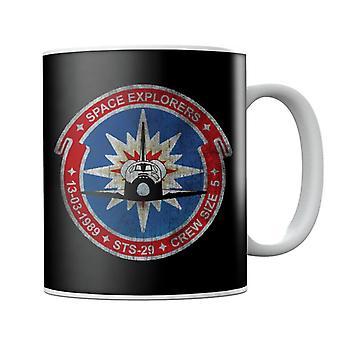 NASA STS 29 Discovery Mission Badge Distressed Mug
