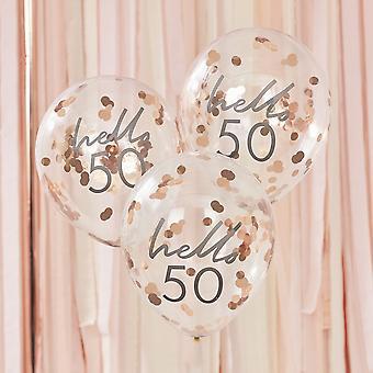 Hallo 50 Rose Gold Party Ballonnen - 50e verjaardag ballonnen x 5