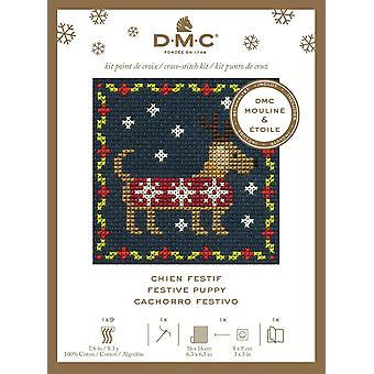 DMC Festive Christmas Mini Counted Cross Stitch Kit - Chiot festif