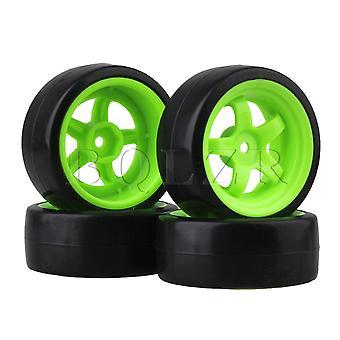 4x Plastic Band met Green 5 Spaaks Velg voor RC 1:10 Drift Car Zwart Duurzaam