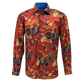 Oscar Banks Satin Gold Chains And Belts Print Mens Shirt