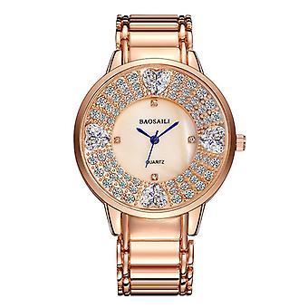 BAOSAILI BSL1036 Shining Ladies Wrist Watch Heart Imitation Diamond Quartz Watch