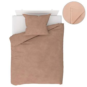 4-tlg. Bettwäsche-Set Fleece Beige 140×200/60×70 cm