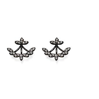 Figura de fiorelli moda Gunmetal plateado claro con orejas de orejas Pendientes